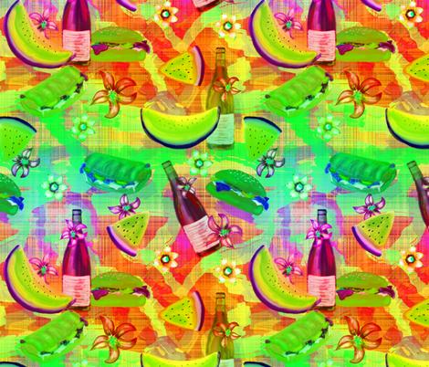 watermelon summer picnic horizontal rainbow lemony on plaid fabric by floweryhat on Spoonflower - custom fabric