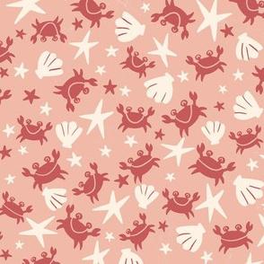 Crabs, sea shells and stars