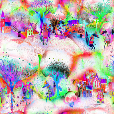 MULTICOLOR 1 BRIGHT ON WHITE  FOXES WALK TOWN  RED LIME  PURPLE WATERCOLOR