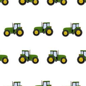 tractor farm nursery pattern with tractors white green