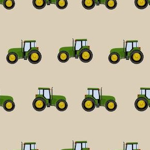 tractor farm nursery pattern with tractors tan