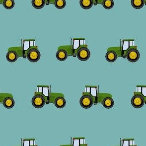 tractor farm nursery pattern with tractors teal