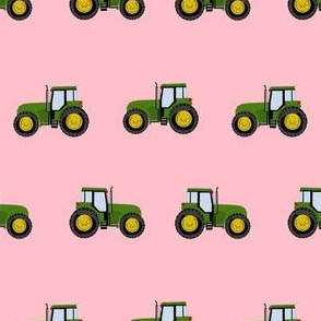 tractor farm nursery pattern with tractors pink green