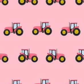 tractor farm nursery pattern with tractors pink