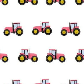 tractor farm nursery pattern with tractors white pink