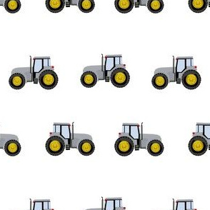 tractor farm nursery pattern with tractors white grey