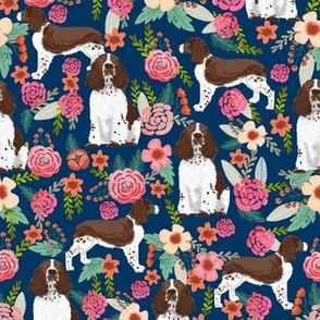 english springer spaniel liver coat floral fabric cute florals dog design navy