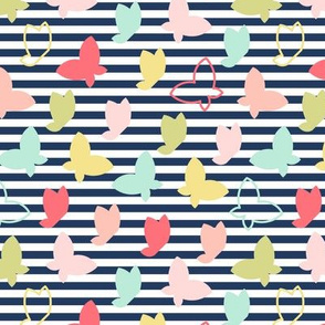 butterfly scatter on navy stripe || sugared spring