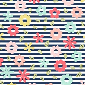 flowers on navy stripe || sugared spring