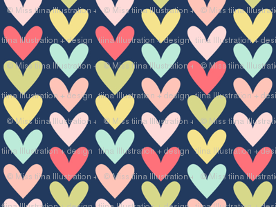 hearts on navy || sugared spring