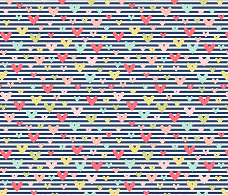 scattered hearts on navy stripe || sugared spring fabric by misstiina on Spoonflower - custom fabric