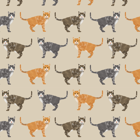 cats tabby cat fabric cute gifts for cat lovers tan fabric by petfriendly on Spoonflower - custom fabric