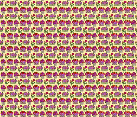 zinnia baskets on yellow 2x2 fabric by leroyj on Spoonflower - custom fabric