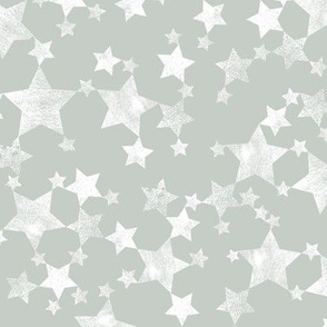 Lino Print Stars | White Stars on A Gray Green Background