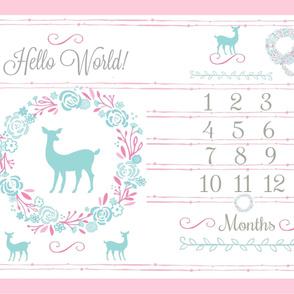 YARD 54  HELLO WORLD mint deer  floral wreath mint pink