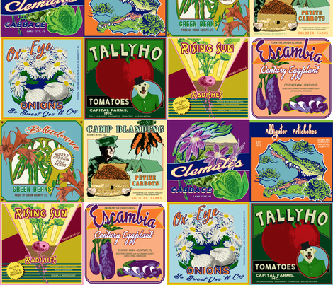 Grown in Florida Vegetable Labels fabric by agregorydesigns on Spoonflower - custom fabric