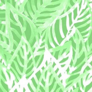 Green tropic leves in watercolor