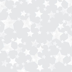 Lino Print Stars | White Stars on A Silver Gray Background