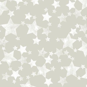 Lino Print Stars | White Stars on A Beige/Warm Gray