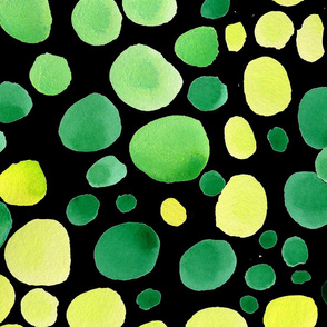 Greenery watercolor polka dot on black