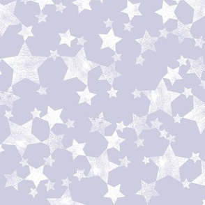 Lino Print Stars | White Stars on Dusty Purple