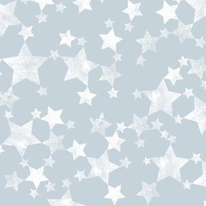 Lino Print Stars | White Stars on Blue Gray