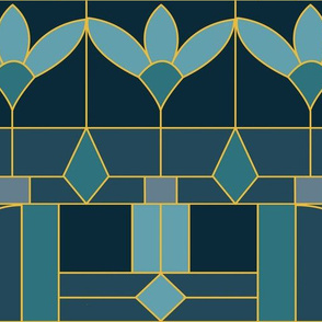 Art Deco Stained Glass Window/Aqua Jade and Gold