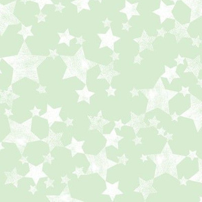 Lino Print Stars | White Stars on Mint Green