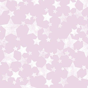Lino Print Stars | White Stars on Pink