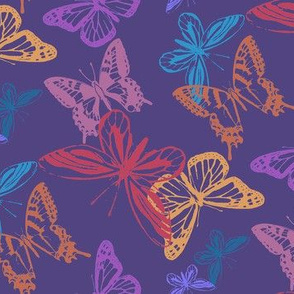 Butterflies in Flight/Violet, Red, Turquoise, Gold