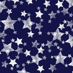 Lino Print Stars | White Stars on Midnight Blue