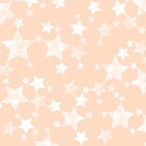 Lino Print Stars | White Stars on Peach/Apricot