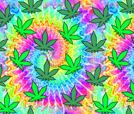 1 tie dye rainbow colourful psychedelic rave music festivals weed marijuana cannabis drugs 420  ganja plants leaves leaf neon pink blue green spirals watercolor pop art hippies april 20 fabric by raveneve on Spoonflower - custom fabric
