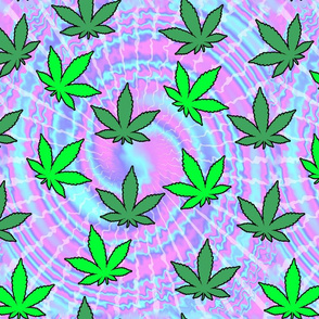 2 tie dye psychedelic rave music festivals weed marijuana cannabis drugs 420  ganja plants leaves leaf neon pink blue purple spirals watercolor pop art hippies april 20