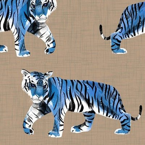 Tiger Walk - larger scale blue on tan