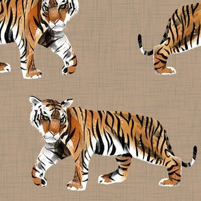 Tiger Walk - Larger Scale on Tan