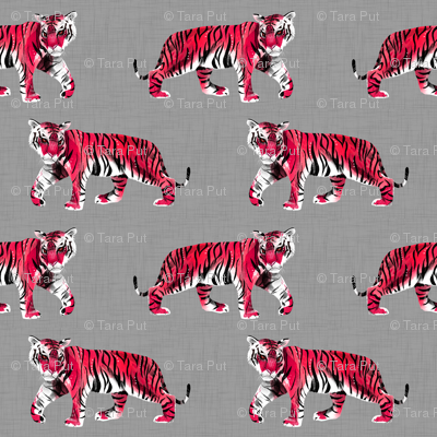 Tiger Walk - Larger Scale Red on Grey