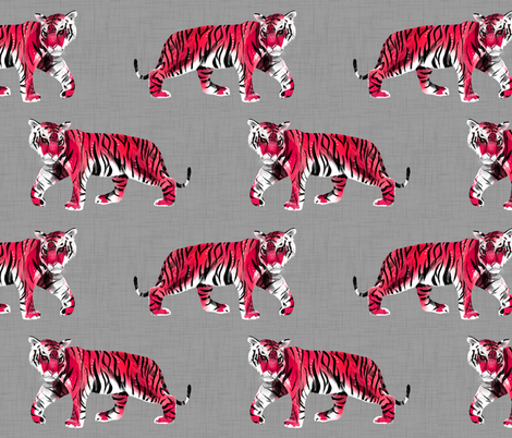 Tiger Walk - Larger Scale Red on Grey fabric by taraput on Spoonflower - custom fabric