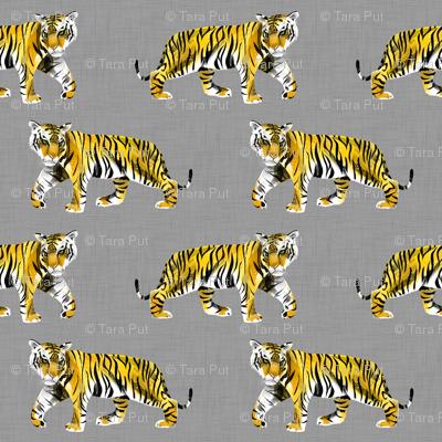 Tiger Walk - Larger Scale Yellow Orange on Grey