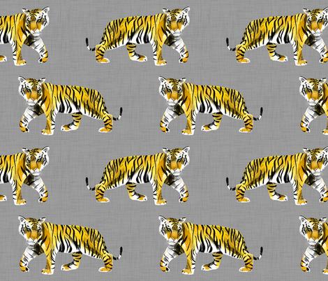 Tiger Walk - Larger Scale Yellow Orange on Grey fabric by taraput on Spoonflower - custom fabric