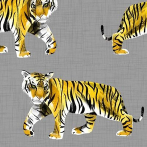 Tiger Walk - Larger Scale Yellow Orange on Grey