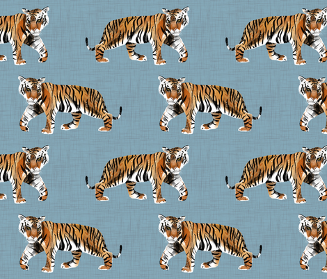 Tiger Walk - Larger Scale on Blue fabric by taraput on Spoonflower - custom fabric