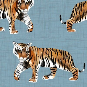 Tiger Walk - Larger Scale on Blue