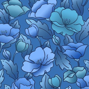 Field of Poppies/Gradations Blue and Aqua with Black Outline