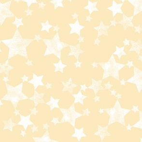 Lino Print Yellow and White Stars