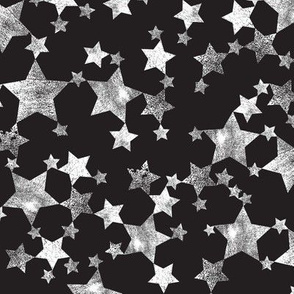 Lino Print Black and White Distressed Stars