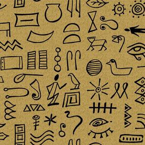 hieroglyphics on brown
