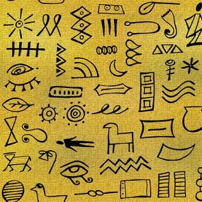 hieroglyphics on gold