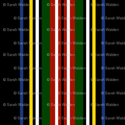 Royal Dress Stewart Classic Stripe On Black ~ Willow Ware, Turkey Red, Jardin, and Grand Tour