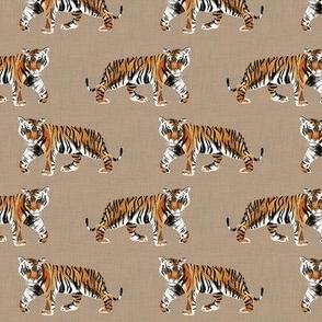 Tiger Walk - Smaller Scale on Tan